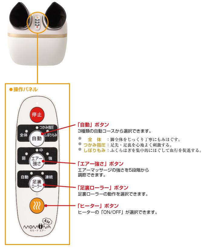 KC-210とリモコンの画像。 「自動」ボタン。3種類の自動コースから選択できます。全体:脚全体をじっくり丁寧にもみほぐすコース。つかみ指圧:足先・足裏を心地よく刺激するコース。しぼりもみ:ふくらはぎを集中的にほぐして血行を促進するコース。 「エアー強さ」ボタン エアーマッサージの強さを5段階から 調節できます。 「足裏ローラー」ボタン 足裏ローラーの動作を選択できます。 「ヒーター」ボタン ヒーターの「ON/OFF」が選択できます。